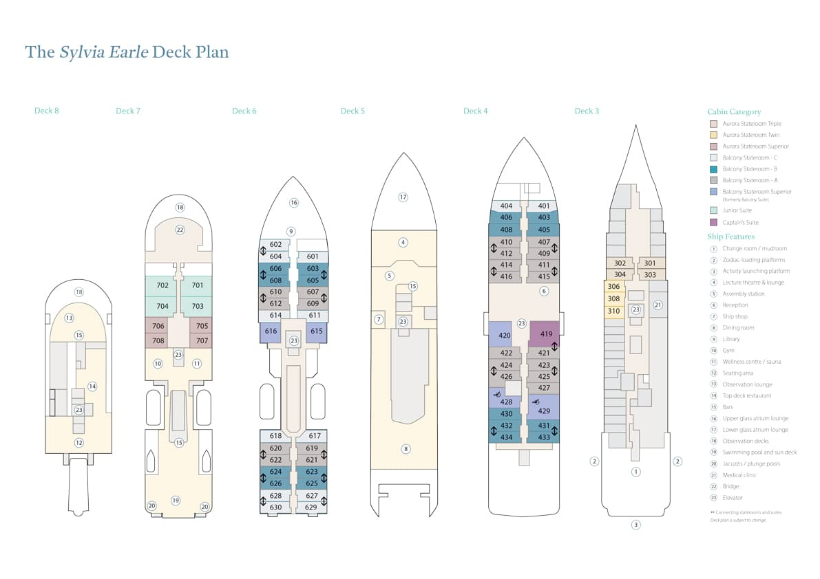 Cabin layout for Sylvia Earle