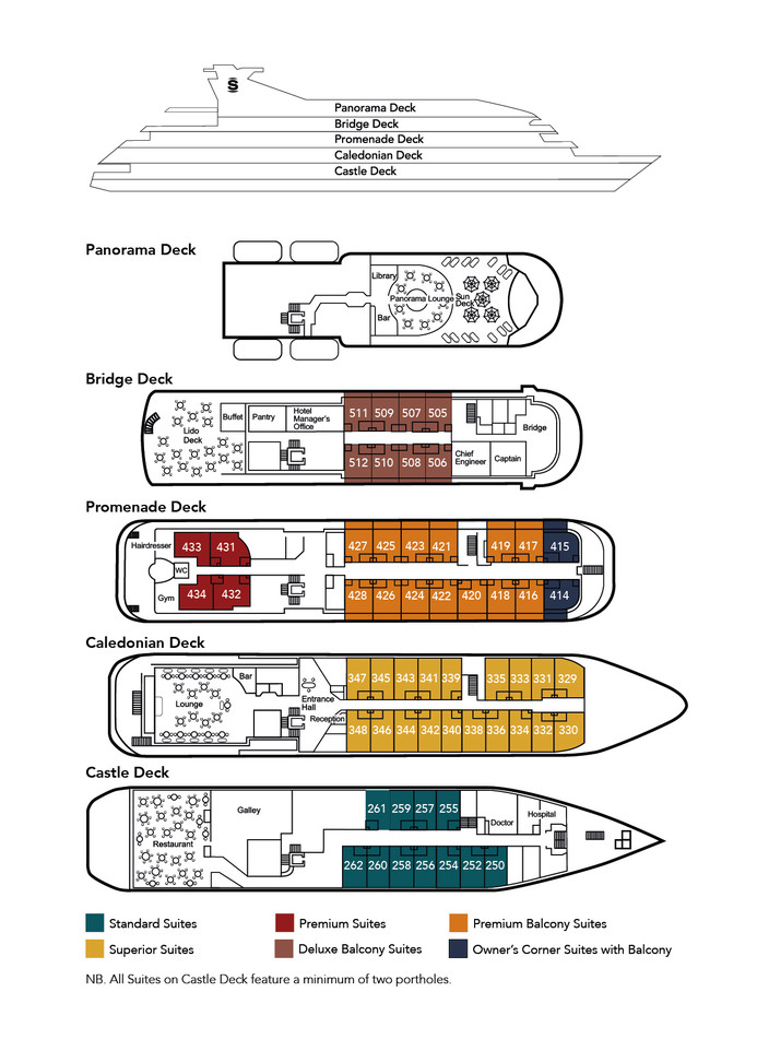 Cabin layout for Caledonian Sky
