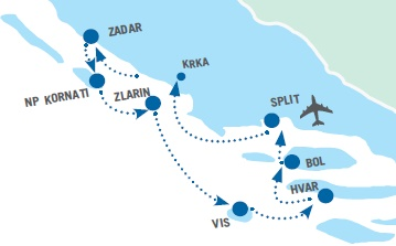 Map for Central Croatia Luxury Cruise