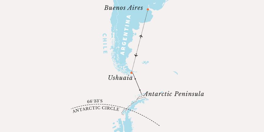 Map for Antarctic Polar Circle Expedition
