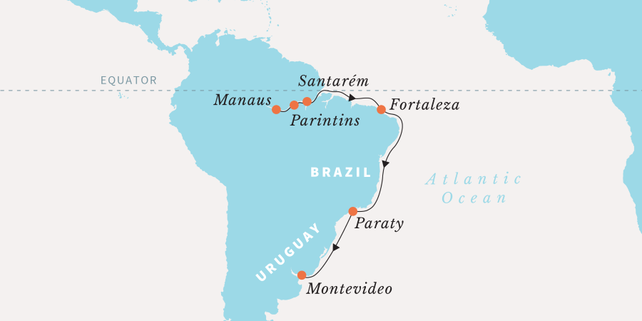 Map for Expedition to the Amazon Rainforest - Southbound