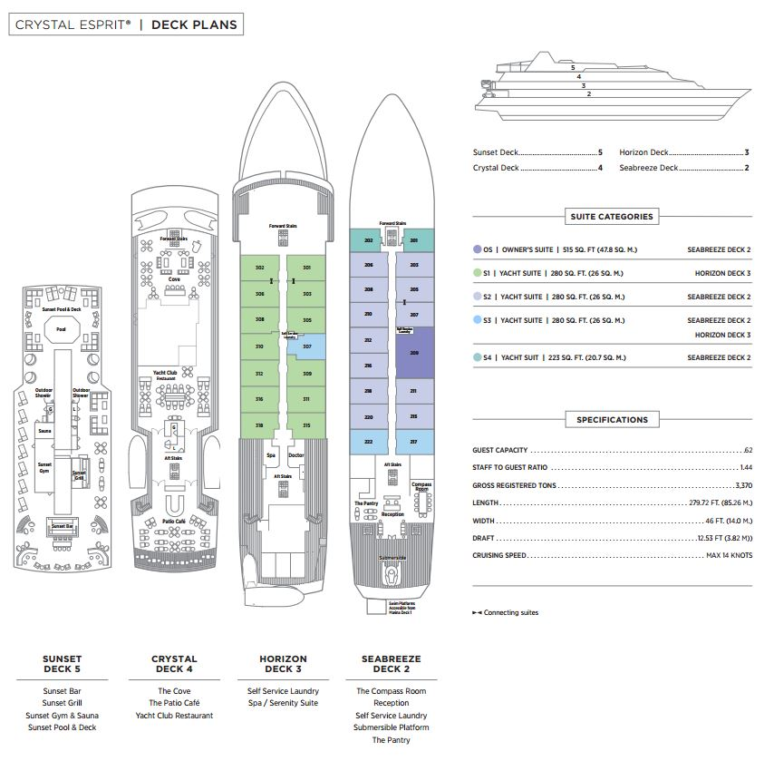 Cabin layout for Crystal Esprit