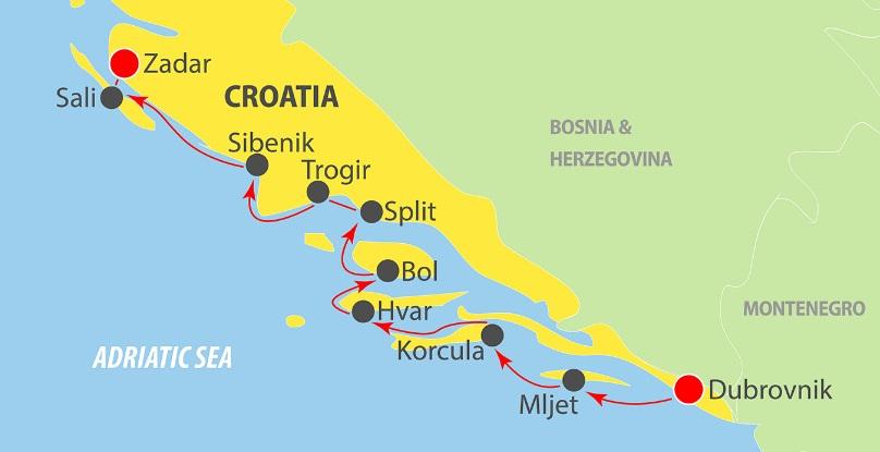 Map for Dubrovnik to Zadar in Luxury