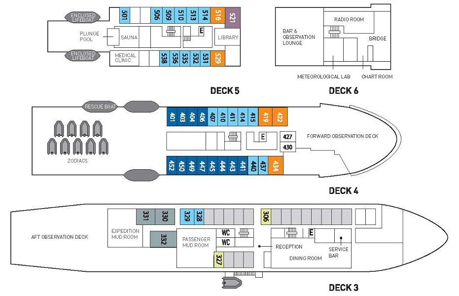 Cabin layout for Akademik Sergey Vavilov