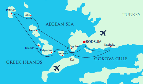 Map for Luxury Gulet Aegean cruise