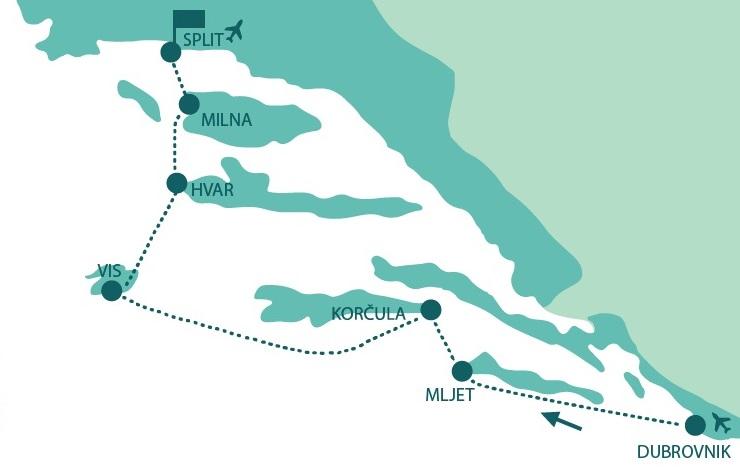 Map for Dubrovnik to Split Luxury Croatia cruise