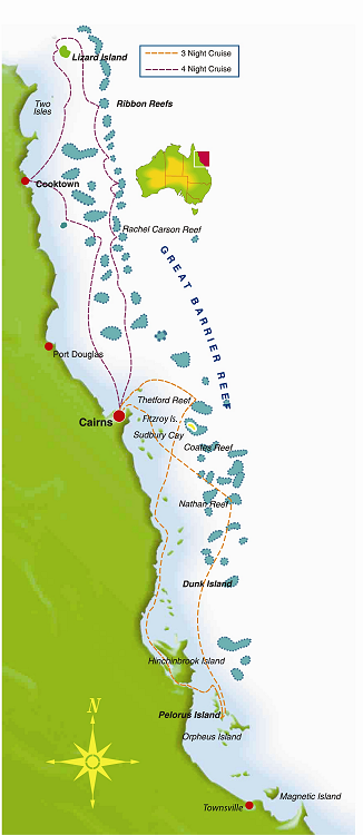Map for 7 Night Great Barrier Reef Cruise (South)