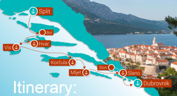 Map for Split to Dubrovnik Luxury Croatia cruise