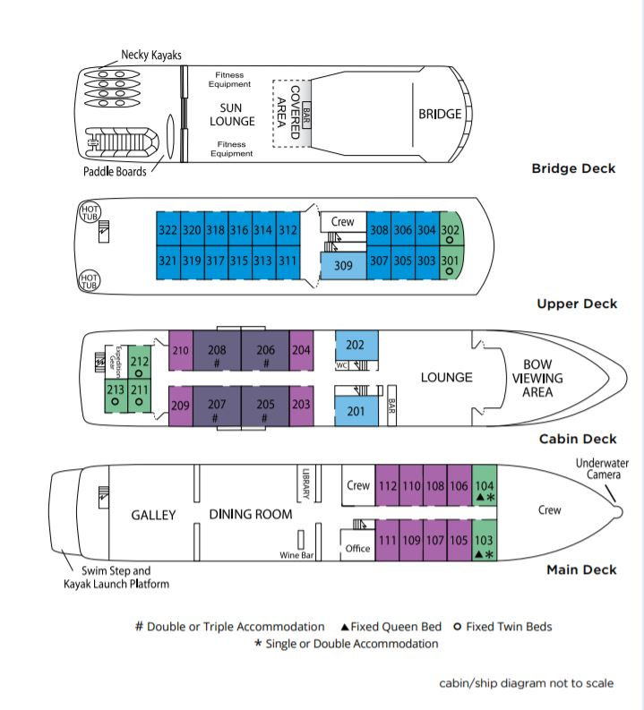 Cabin layout for Safari Endeavour