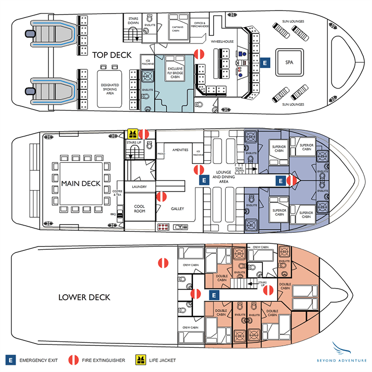 Cabin layout for Kimberley Quest II