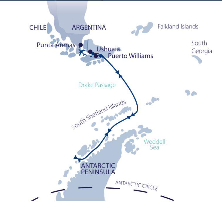 Map for Christmas in Antarctica (Greg Mortimer)