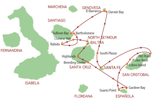 Map for Galapagos Eastern Route (Reina Silvia)