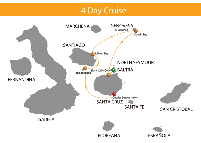 Map for Galapagos Cruise - 4 Days (Infinity)