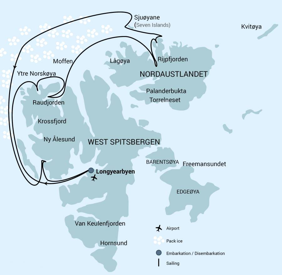 Map for North Spitsbergen - 82 Degrees North
