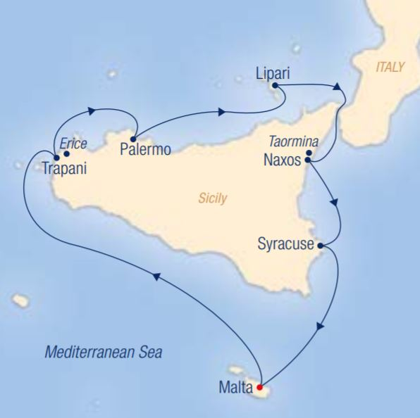 Map for The Most Beautiful Sights of Sicily