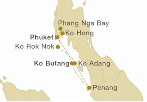 Map for Southern Roundtrip Phuket (Star Clipper)