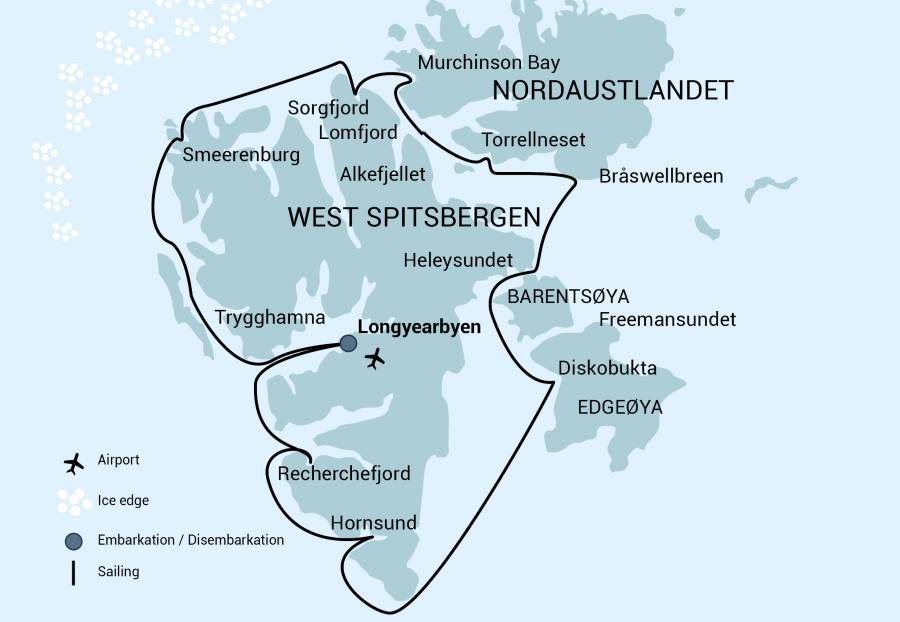 Map for Around Spitsbergen (Noorderlicht)