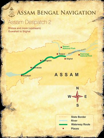 Map for Brahmaputra Cruise: Rhinos & More