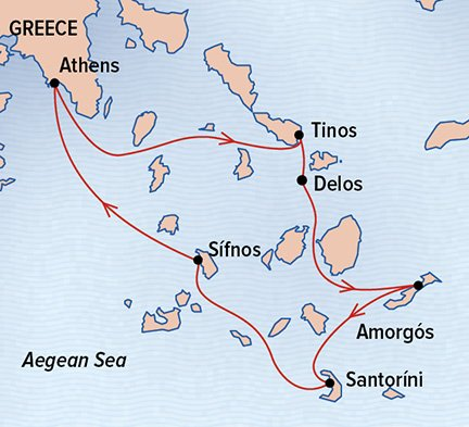 Map for Sailing the Greek Isles aboard the Sea Cloud