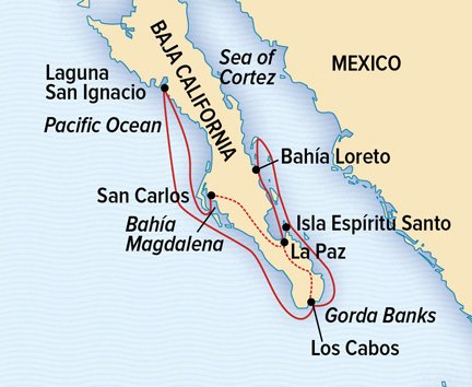 Map for Baja California and the Sea of Cortez Adventure