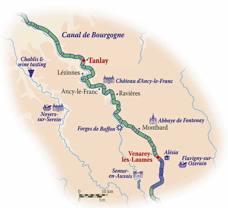 Map for Northern Burgundy Cruise (La Belle Epoque)