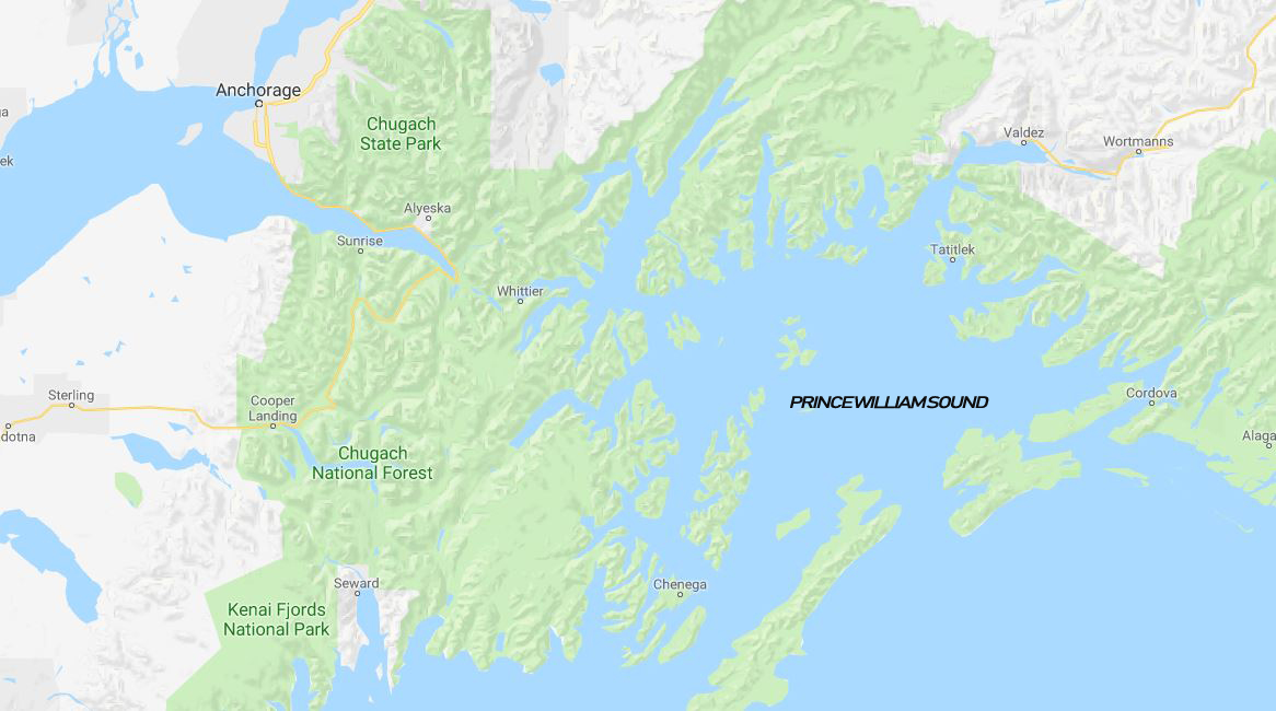 Map for Prince William Sound 4 Day Cruise