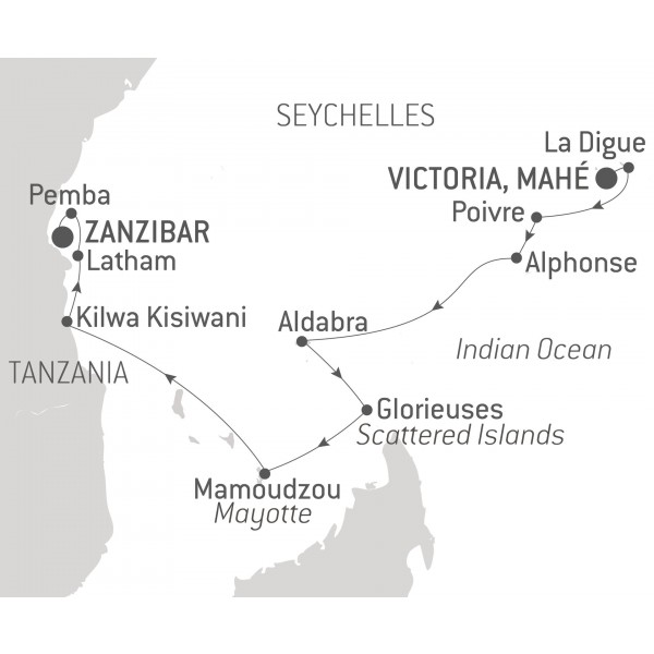Map for Zanzibar and the Treasures of the Indian Ocean