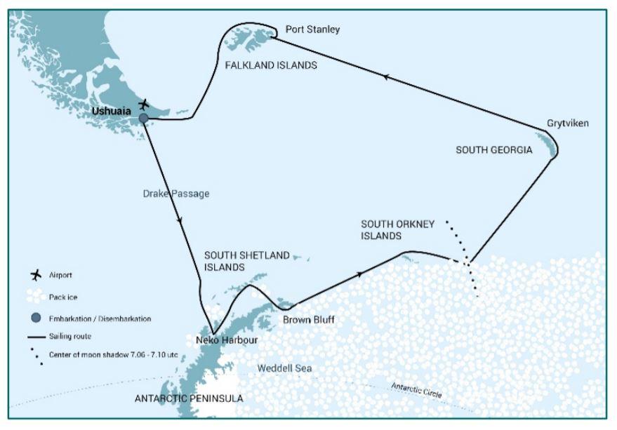 Map for Falklands - South Georgia - Solar Eclipse - Antarctica (Hondius)