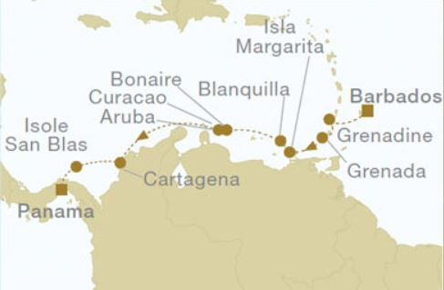 Map for Barbados to Panama (Royal Clipper)