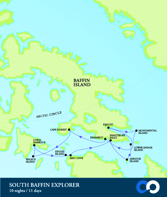 Map for South Baffin Explorer: Art, Culture & Wildlife (RCGS Resolute)