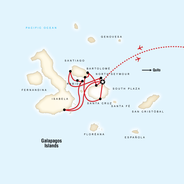 Map for Galápagos — 10 Days West & Central Islands (Monserrat)