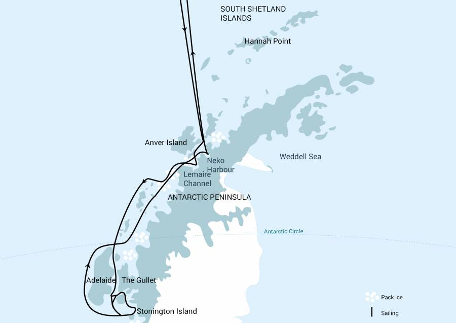 Map for Antarctica – Whale Watching & Learning Voyage