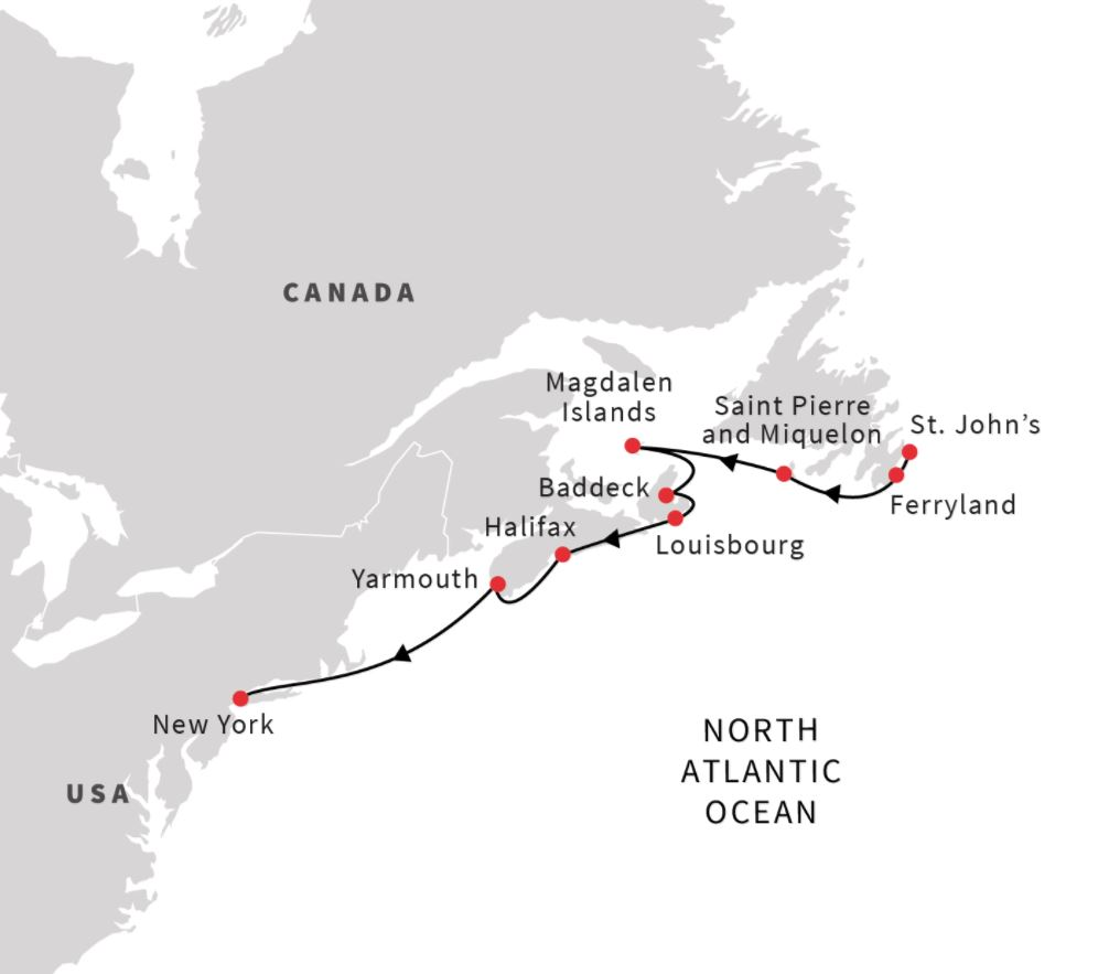 Map for Northeast US and Atlantic Canada (Southbound)