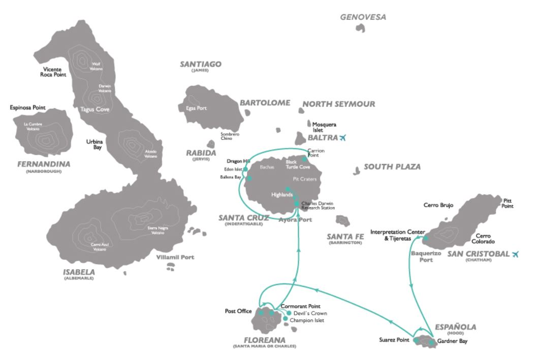 Map for Galapagos South Cruise D (Galapagos Legend)