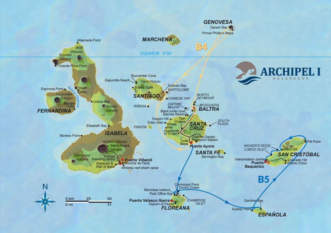 Map for Galapagos 8 Day Cruise Itinerary B (Archipel I)