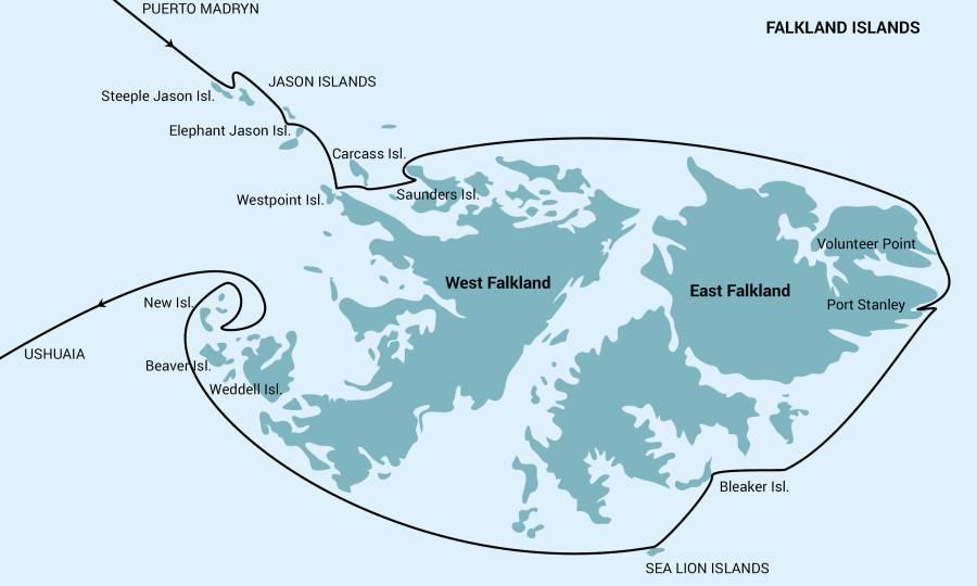 Map for Falkland Islands