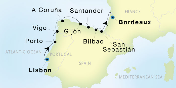 Map for Luxury Mediterranean: From Lisbon to Bordeaux