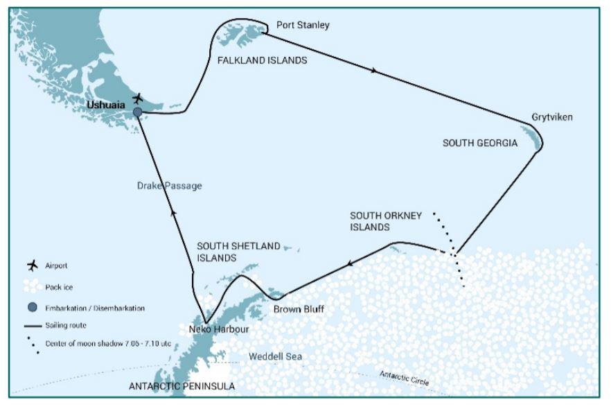 Map for Falklands - South Georgia - Solar Eclipse - Antarctica (Ortelius)