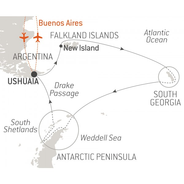 Map for Christmas in Antarctica (Le Boreal)