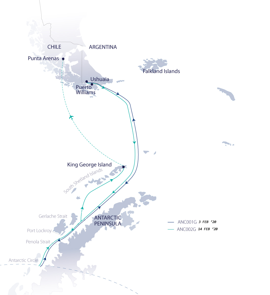 Map for Across the Antarctic Circle (Greg Mortimer)