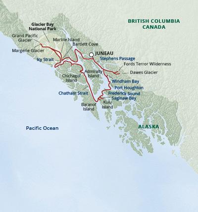 Map for Alaska's Glacier Country (Safari Endeavour)