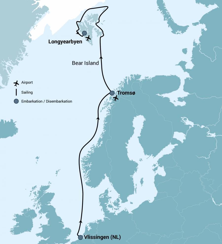 Map for Norwegian Sea - Bear Island - Around Spitsbergen
