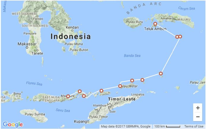 Map for East Indies Spice Exploration 2018