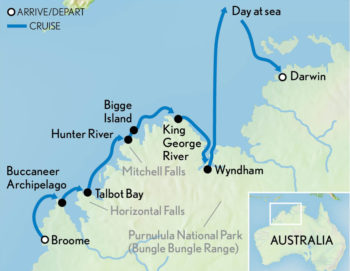 Map for Kimberley Cruise: Australia's Last Frontier