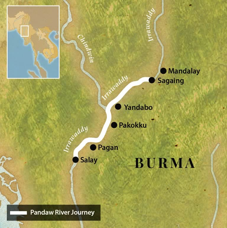 Map for Mandalay to Pagan Four Night Cruise