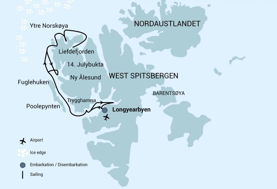 Map for North Spitsbergen, Arctic Summer