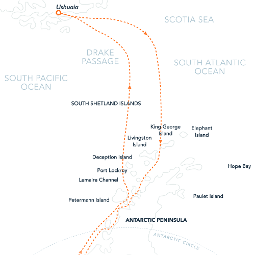 Map for Crossing the Antarctic Circle (Island Sky)