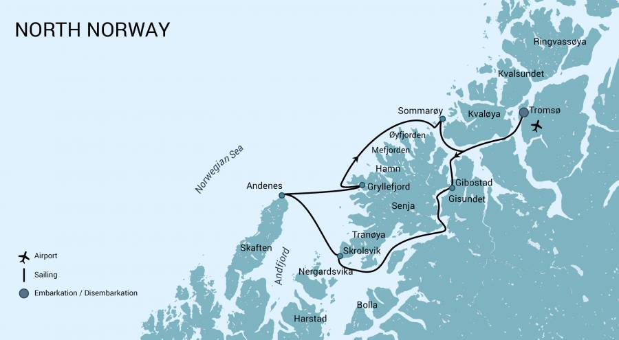 Map for North Norway, Aurora Borealis & Whales