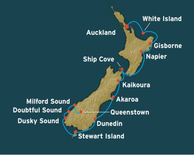 Map for New Zealand East Coast Expedition