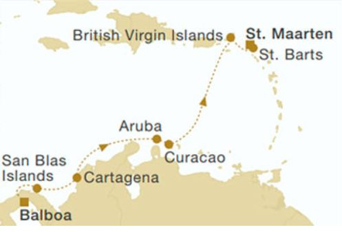 Map for Panama to St. Maarten (Star Flyer)